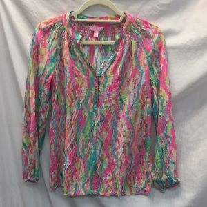 Lilly Pulitzer Women's Long Sleeved Silk Blouse